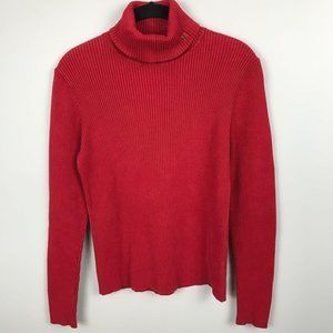 Lauren by RL Cotton Turtleneck Sweater Red Size M